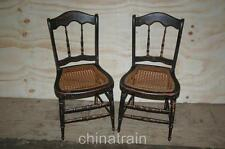 2 Antique Cane Seat Spindle Back Chairs Paint Accents 1800s