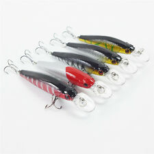 Lot 5pcs Fishing Bass Lures Diving Crankbait Minnow Bait Crank Baits Hook Tackle