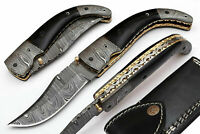 HAND MADE DAMASCUS BLADE FOLDING HUNTING KNIFE WITH REAL LEATHER SHEATH ZM 5067H