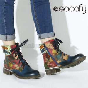 SOCOFY Womens Ladies Genuine Leather Ankle Boots Jeans Lace Up Shoes Low Heel