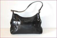 LANCEL Bag Black Leather Worn Shoulder BE