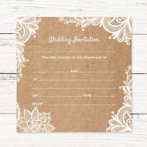 Summertime Wood Engraved Wedding Invitations Invites Pack of 10