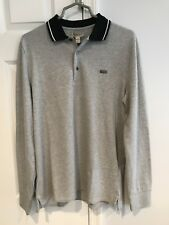 NWT Burberry London Men's Anderton Light Grey Polo Long Sleeve Size Large