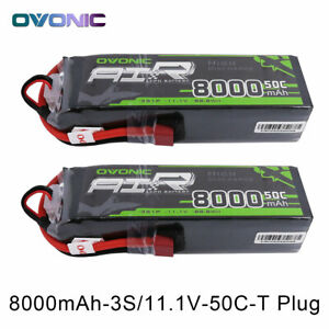 2X Ovonic 8000mAh 11.1V 50C 3S Lipo Battery for RC Car Truck Boat Airplane jet