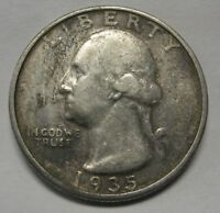 1935 Washington Silver Quarter in Average Circulated Condition  Priced Right