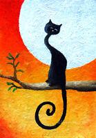 Original ACEO OIL NAIVE ART DREAMY BLACK CAT fantasy FULL MOON NIGHT MINIATURE