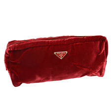 Authentic PRADA Logos Clutch Evening Bag Pouch Red Velor Italy Vintage A33763