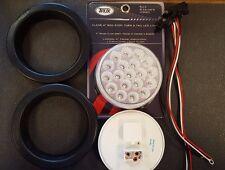 "(2) 19 LED Trux 4"" Round Clear Lens Chrome/Mirror Back Finish Stop Tail Turn Kit"