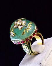 Colombian Emerald Cabochon Diamond 22K Gold Jadau Designer Ring
