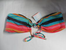 New Roxy Cheeky Adjustable Bandeau Women Swimwear Bikini Top Large Multicolor