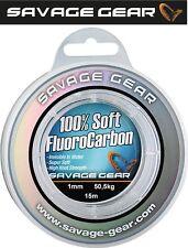 (1,66€/1m) Savage Gear Soft Fluorocarbon Schnur 1,0mm 15m 50,5kg, Vorfachschnur