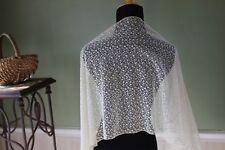 Vtg Antique French Schiffli Huge Wide Net Lace Panel Dolls Crafts Veil Shawl