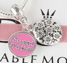 925 Silver sweet mother Charm Beads Fit European Charm Bracelet Pendant #E376