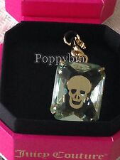 BRAND NEW JUICY COUTURE SKULL ENGRAVED GREEN GEM BRACELET CHARM IN TAGGED BOX