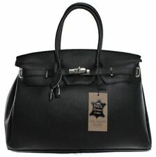 Leather Outer Patternless Satchels Handbags