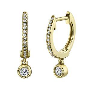 14K Gold Bezel Set Diamond Huggie Drop Earrings Round Cut Natural 0.14 CT Dangle