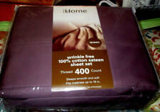 Bed Bath Beyond 400T Queen Sheets 4pc Purple 100% Cotton