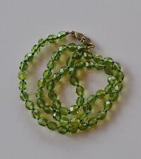 Art Deco green peridot Czech crystal faceted bead hand knotted Necklace