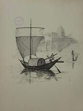 1936 Vela Nave stampa ~ un DINGHI sull' del Gange