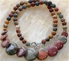 """Jasper Round Beads Necklace 17"""" Aaa Natural 6-20mm Multicolor Picasso"""