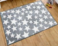 Kit for Kids Grey With White Stars Rectangular Nursery Rug 150 X 100 cms