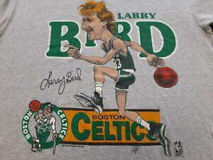 VTG 80s Boston Celtics #33 Larry Bird Caricature Single Stitch T Shirt Medium M
