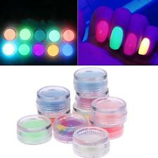 10 Colors Neon Pigment Nails Powder Dust Fluorescent Glowing Acrylic Gel Polish