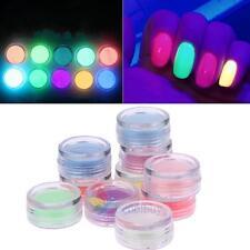 10x  Nail Art Glow in the Dark UV Fluorescent Pigment Powder Acrylic Gel Polish