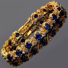 Rhinestone Glass Round Cut Blue Sapphire Tennis Statement Bracelet