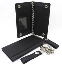 Bifold Black Genuine Leather Checkbook Holder Snap Button Wallet with a Chain