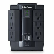 CyberPower CSP600WSU Surge Protector 6AC Outlet Swivel with 2 USB (2.1A)