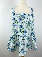 Womens ASOS Size 16 Uk Top Blouse Shirt Square Neck Floral Blue/white Mix *37