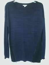 CASLON Long Blue & Black Wool-Blend Sweater Top w-Zipper Accents NEW sz L