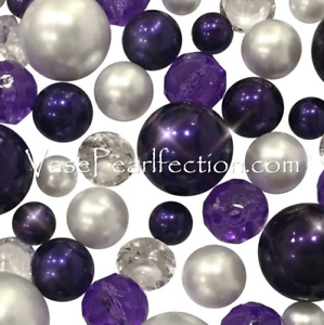 120 Floating Plum & White Pearls with Matching Gem Accents- Jumbo/Assorted Sizes