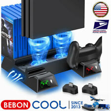 Stand Cooling Fan Controller Dual Charger Station for PlayStation4 PS4 Slim /Pro