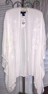 NEW Ivory Open Kimono Cardigan Jacket Embroidered Karen Kane Topper $128