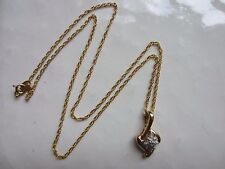 """14K Yellow Gold Signed VTG Chain/Necklace w/10K Gold Diamonds/Not Pendant 16""""=3G"""