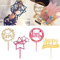 kids Happy Birthday Gold Cake Topper Card Acrylic Party Decoration Supplies