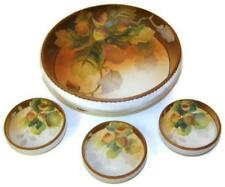 Antique Nippon Noritake Nut Set Master Bowl & Individual Bowls HP with Chestnuts