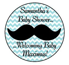 24 MUSTACHE PERSONALIZED LITTLE MAN BABY SHOWER PARTY STICKERS LABELS FAVORS