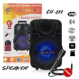 KARAOKE CASSA PORTATILE BLUETOOTH CON MICROFONO TELECOMANDO USB MICRO SD MP3 FM