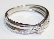 Preciosa 18 CT Oro Blanco Diamante Anillo 0.26cts Tamaño o Cruz sobre
