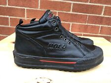 Polo Sport Ralph Lauren Men black Leather Lace Up ankle Boots size US 8.5