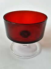 2 Vintage ARCOROC France Ruby Red Clear Glass Stem Sherbet Glasses