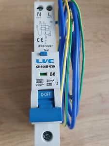 Live Single Module 6Amps B Curve 30mA Live Electrical RCBO