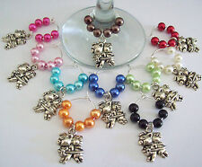 SET OF 10 WINE GLASS RINGS CHARMS WITH CUTE SILVER PIGGIES