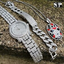 HIP HOP SLAUGHTER GANG LAB DIAMOND NECKLACE & WATCH & MIAMI CUBAN BRACELET SET