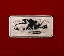 1976 1000 Grain Franklin Mint Christmas Ingot of Solid Sterling Silver