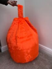 COVER ONLY Chidrens 3 CUBIC FT Size Bean Bag Faux Fur Luxurious Tango Orange New