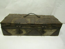 "Vtg-Style Repurposed Tin Metal Box Treasure Chest Tool Primitive 15"" x 5.5"" x 4"""